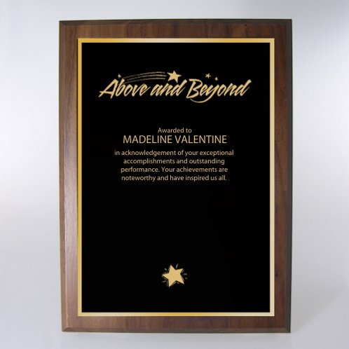 Half-Size Black w/ Gold Prestigious Award Plaque
