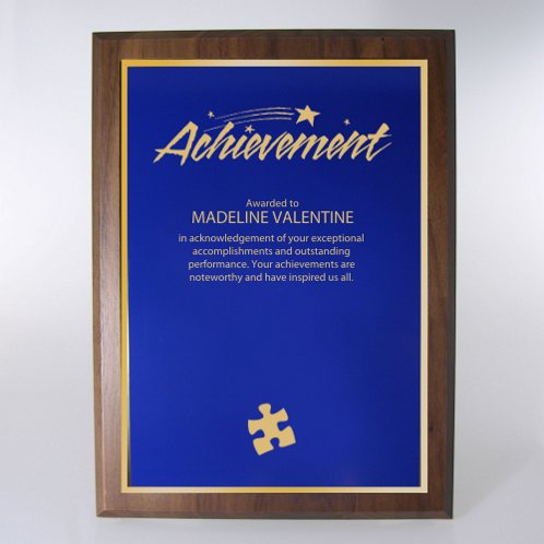 Half-Size Blue w/ Gold Prestigious Award Plaque