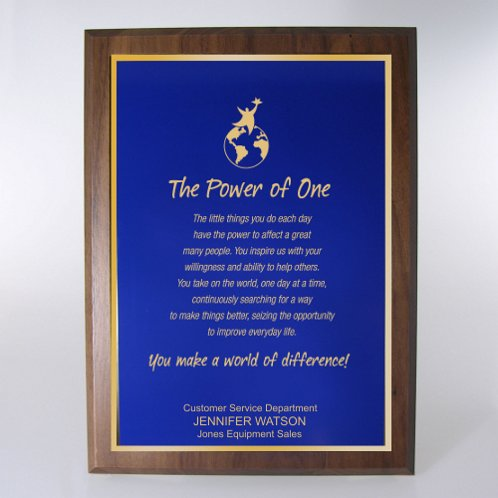 Blue with Gold Full-Size Character Award Plaque