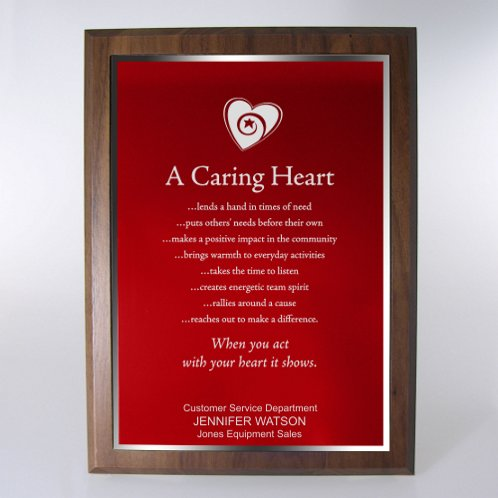 Red with Silver Full-Size Character Award Plaque