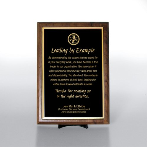 Black with Gold Half-Size Character Award Plaque