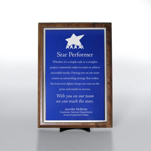 Blue with Silver Half-Size Character Award Plaque