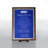 Character Award Plaque - Half-Size - Blue w/ Silver