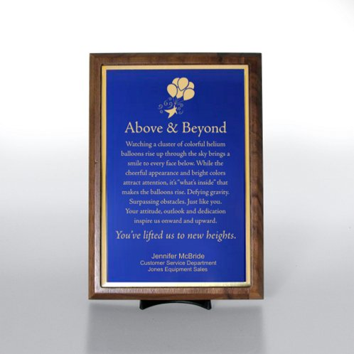 Blue with Gold Half-Size Character Award Plaque