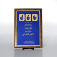 Character Award Plaque - Half-Size - Blue w/ Gold