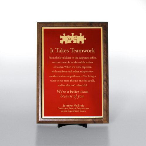 Red with Gold Half-Size Character Award Plaque