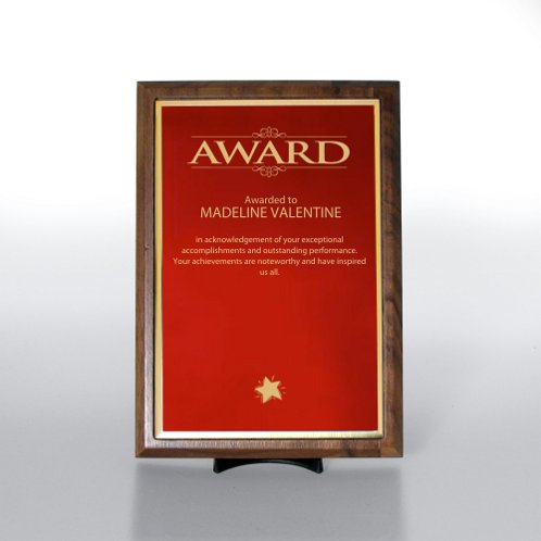 Half-Size Red w/ Gold Prestigious Award Plaque