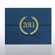 Foil-Stamped Certificate Folder - Laurels - 2011 - Blue