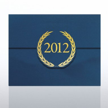 Foil-Stamped Certificate Folder - Laurels - 2012 - Blue