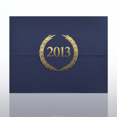 Foil-Stamped Certificate Folder - Laurels - 2013 - Blue