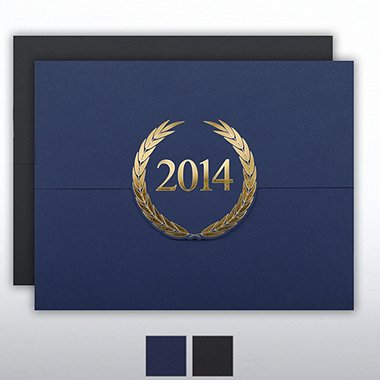 Foil-Stamped Certificate Folder - Laurels - 2014 - Blue