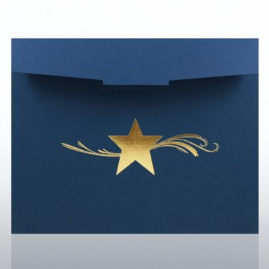 Foil-Stamped Certificate Folder - Star Dream - Blue