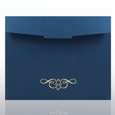 Foil-Stamped Certificate Folder - Ornate - Blue