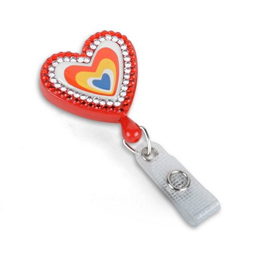 Fashion Heart with Sparkles Badge Reel