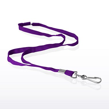 Stock Lanyard - Flat Woven Breakaway w/ Metal J-Hook -Purple