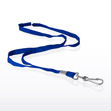 Stock Lanyard - Flat Woven B/A w/ Metal J-Hook - Royal Blue