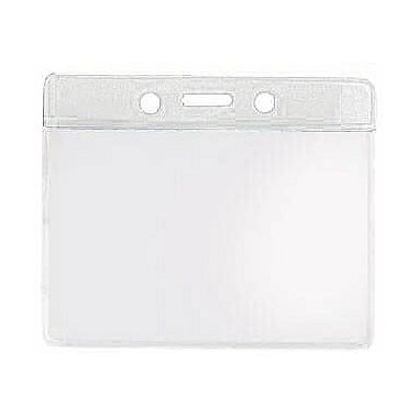 Colored Badge Holder - 4 x 3 Horizontal - Clear