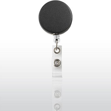 Badge Reel - Heavy Duty - Metal Matte Black/Chrome