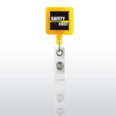 Badge Reel - Yellow Square - Safety First