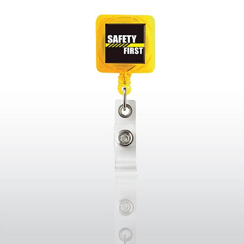 Safety First Square Yellow Badge Reel