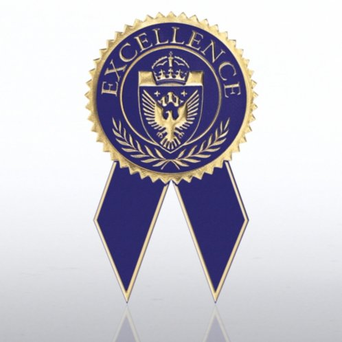 Excellence Blue Gold Certificate Seal With Ribbon At