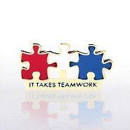 Lapel Pin - It Takes Teamwork Red, White and Blue