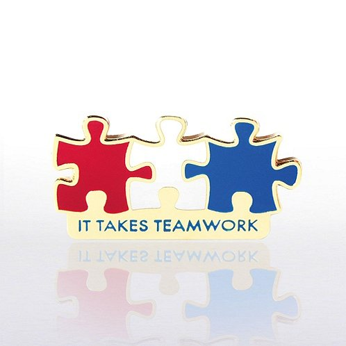 It Takes Teamwork Red, White and Blue Lapel Pin