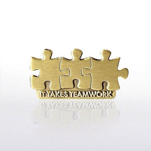 It Takes Teamwork - Die Struck Lapel Pin