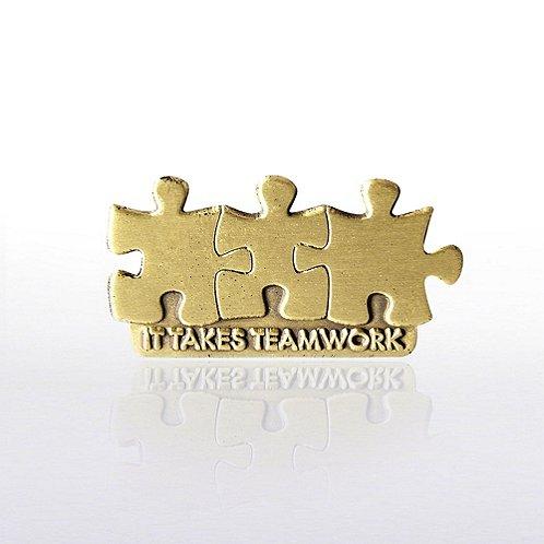 It Takes Teamwork - Die Struck Lapel Pin