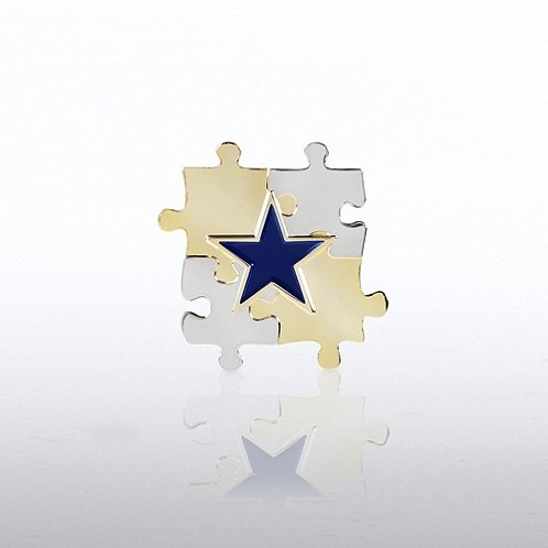 Puzzle Star Lapel Pin