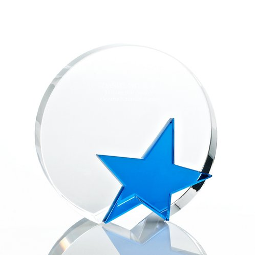 Round Blue Star Crystal Trophy