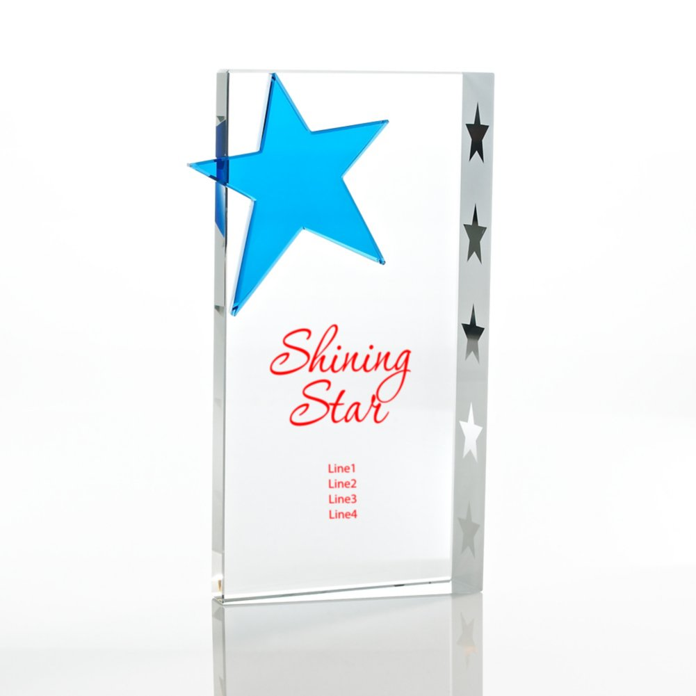 Trophy - Crystal Blue Star - Rectangle