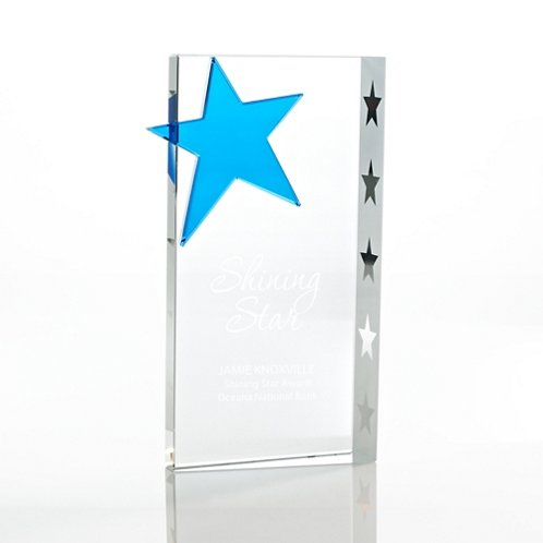 Rectangle Blue Star Crystal Trophy