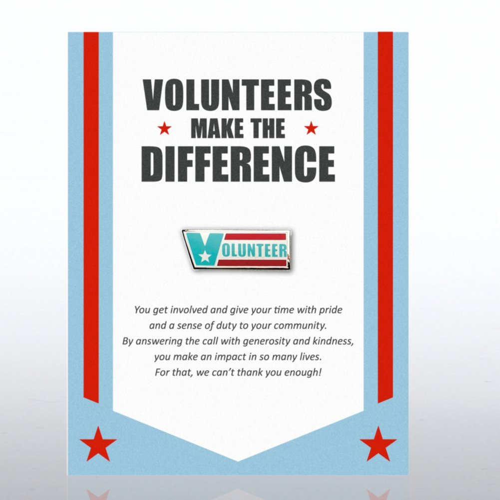 Volunteers Make the Difference Character Pin