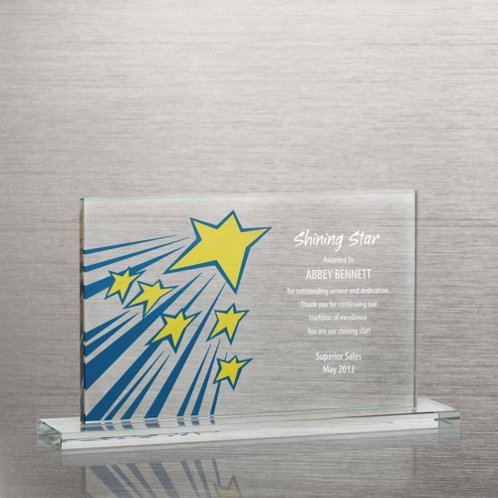 Shooting Stars Brilliant Colored Glass Award