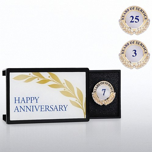 Happy Anniversary Milestone Pin with Keepsake Box