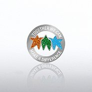 Glitter Lapel Pin - Together We Can Make a Difference