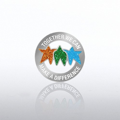 Together We Can Make a Difference Glitter Lapel Pin