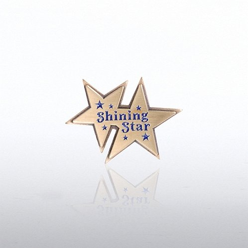 Double Shining Star Lapel Pin