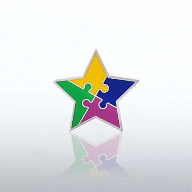 Lapel Pin - Star with Puzzle Pieces