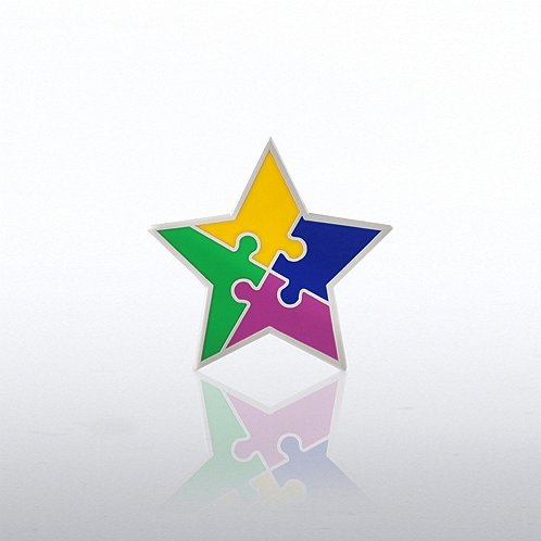 Star with Puzzle Pieces Lapel Pin