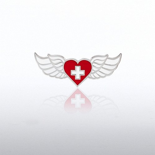 Wings Heart and Cross Lapel Pin