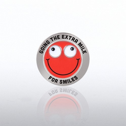 Going The Extra Mile For Smile Bobble Head Lapel Pin