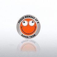 Bobble Head Lapel Pin - Proud Member Of A Super Team