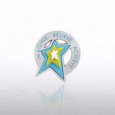 PVC Lapel Pin - Imagine Believe Achieve - Star