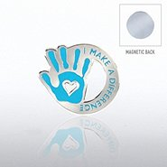 Lapel Pin Magnetic Back - I Make the Difference Hand