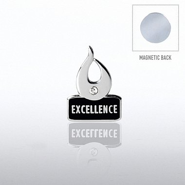 Lapel Pin with Magnet Back - Flame Excellence w/ Gem