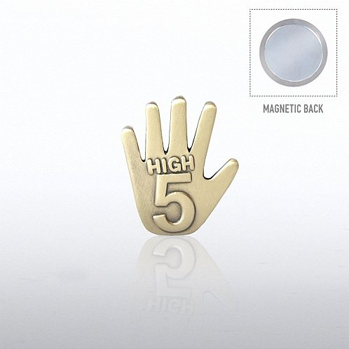 Gold High 5 Lapel Pin Magnetic Backing