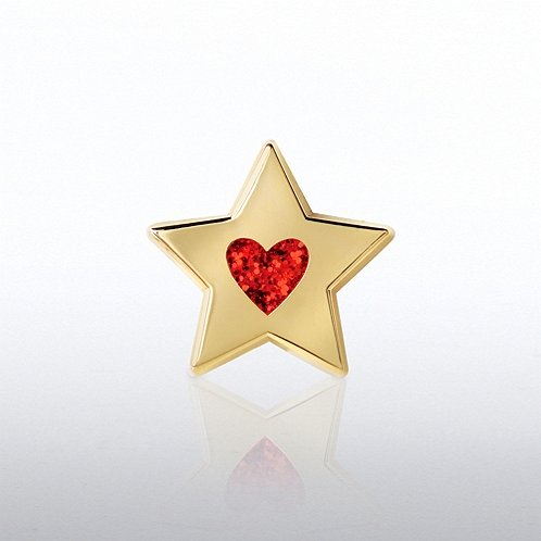 Glitter Star with Heart Lapel Pin