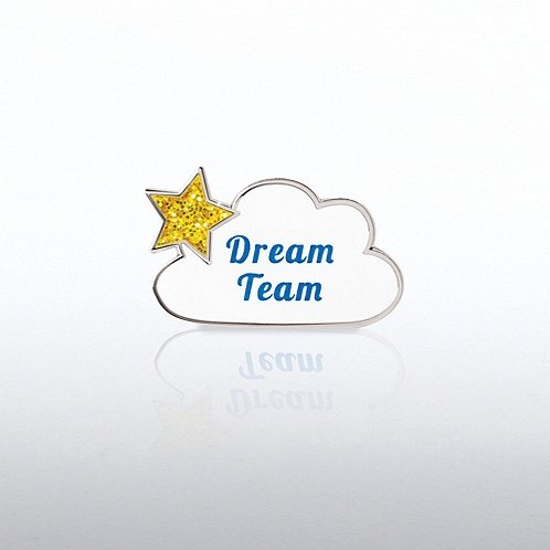 Glitter Dream Team Cloud Lapel Pin
